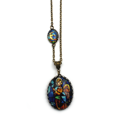 Collier 2 cabochons Ange et Colombe
